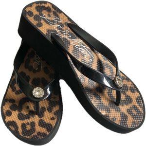 Brighton Leopard Wedge Flip Flops Size 7.5